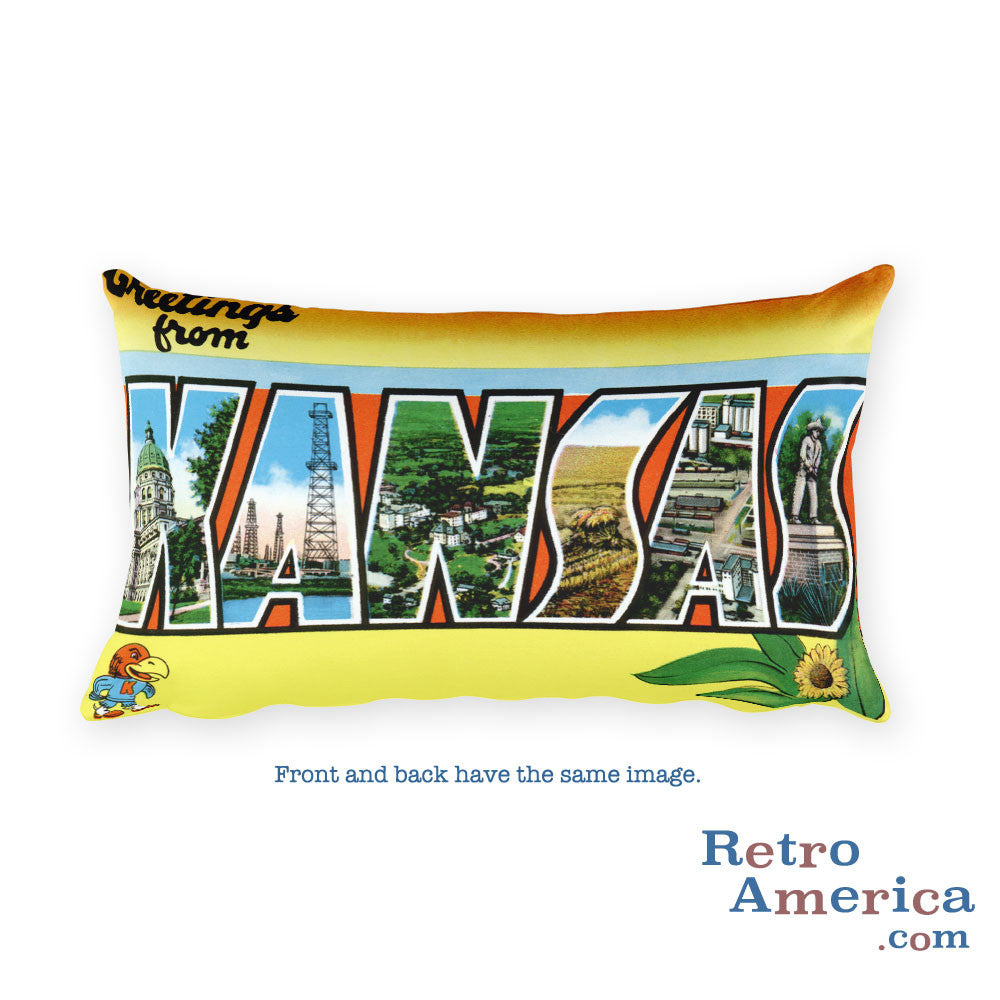 Greetings from Kansas Throw Pillow 2