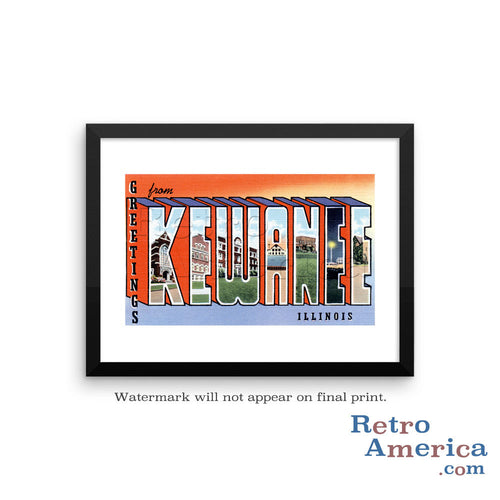 Greetings from Kewanee Illinois IL Postcard Framed Wall Art