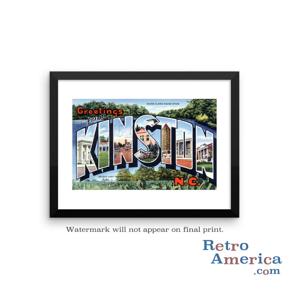 Greetings from Kinston North Carolina NC Postcard Framed Wall Art