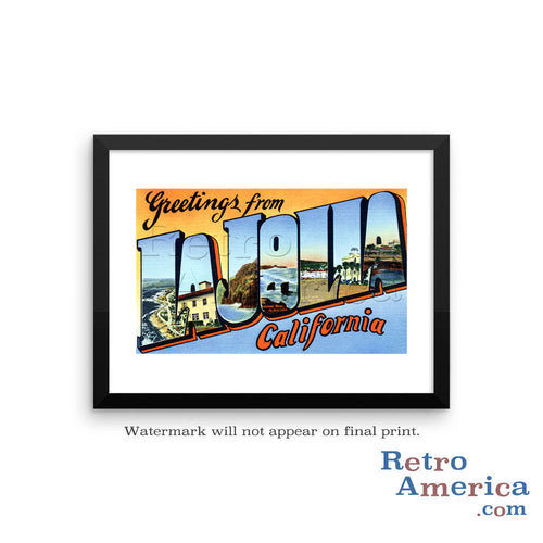 Greetings from La Jolla California CA 1 Postcard Framed Wall Art