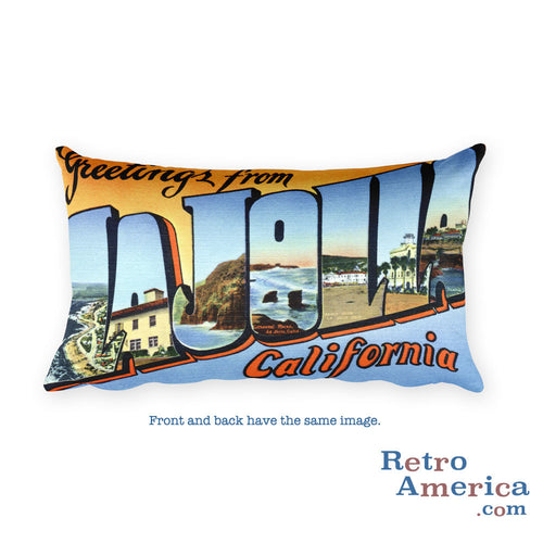Greetings from La Jolla California Throw Pillow 1