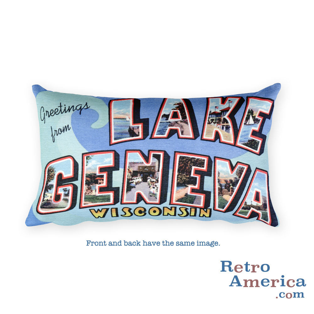 Greetings from Lake Geneva Wisconsin Throw Pillow