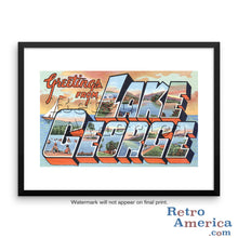 Greetings from Lake George New York NY Postcard Framed Wall Art