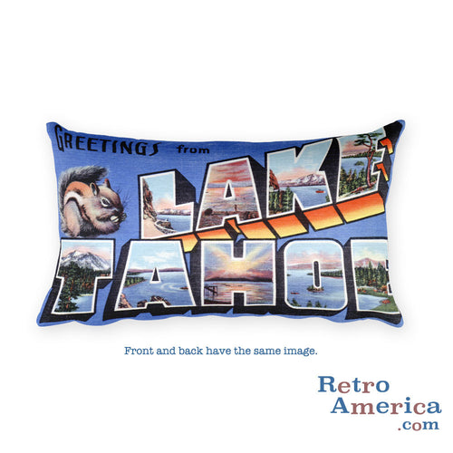 Greetings from Lake Tahoe Nevada Throw Pillow
