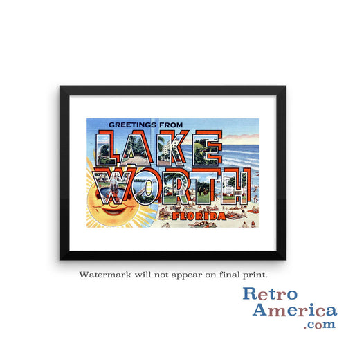 Greetings from Lake Worth Florida FL Postcard Framed Wall Art