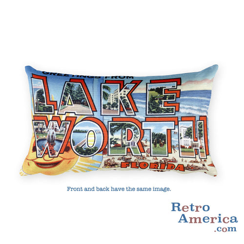 Greetings from Lake Worth Florida Throw Pillow