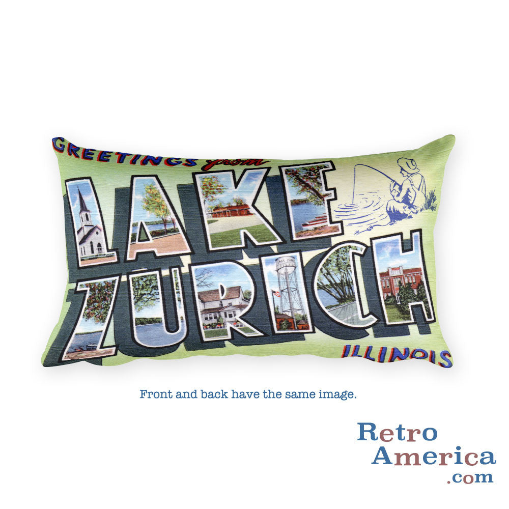 Greetings from Lake Zurich Illinois Throw Pillow