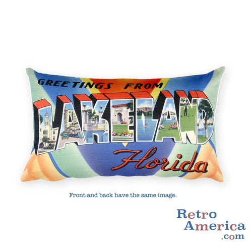 Greetings from Lakeland Florida Throw Pillow