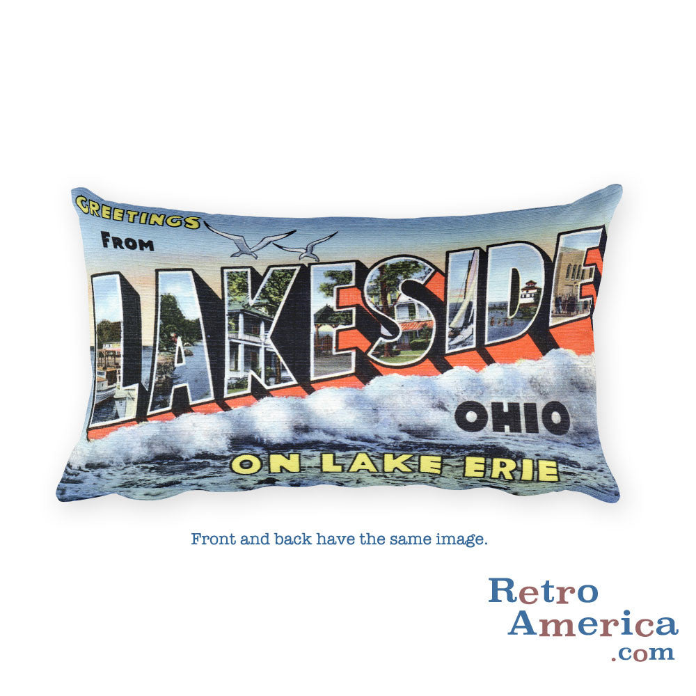 Greetings from Lakeside Ohio Throw Pillow