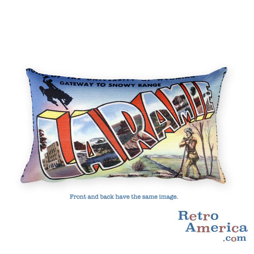Greetings from Laramie Wyoming Throw Pillow