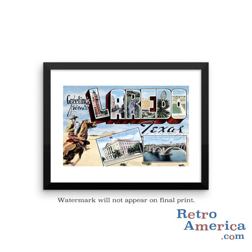 Greetings from Laredo Texas TX Postcard Framed Wall Art