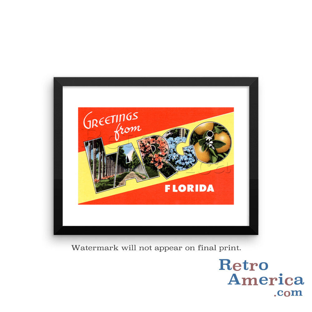Greetings from Largo Florida FL Postcard Framed Wall Art