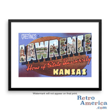Greetings from Lawrence Kansas KS Postcard Framed Wall Art