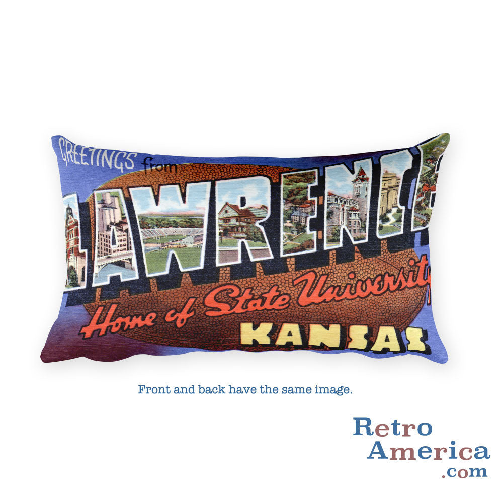 Greetings from Lawrence Kansas Throw Pillow