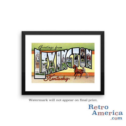 Greetings from Lexington Kentucky KY Postcard Framed Wall Art