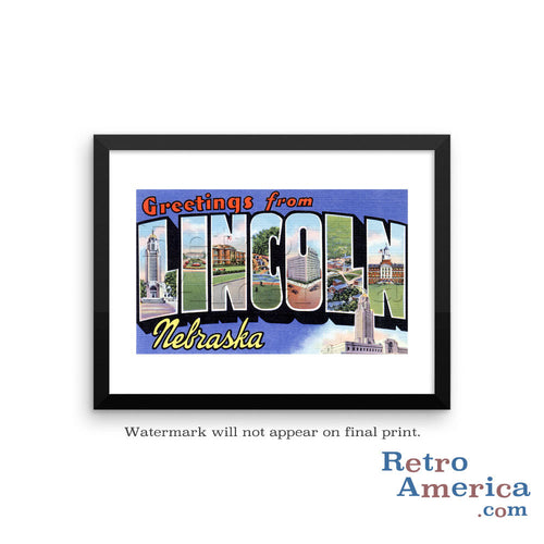 Greetings from Lincoln Nebraska NE Postcard Framed Wall Art