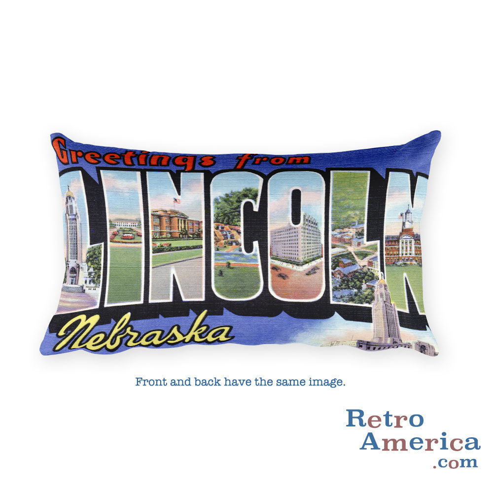 Greetings from Lincoln Nebraska Throw Pillow