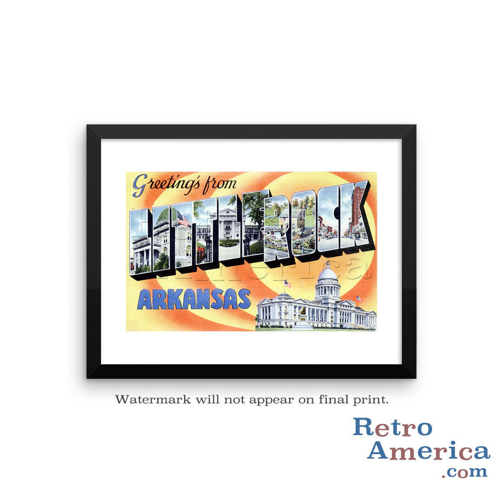 Greetings from Little Rock Arkansas AR 1 Postcard Framed Wall Art