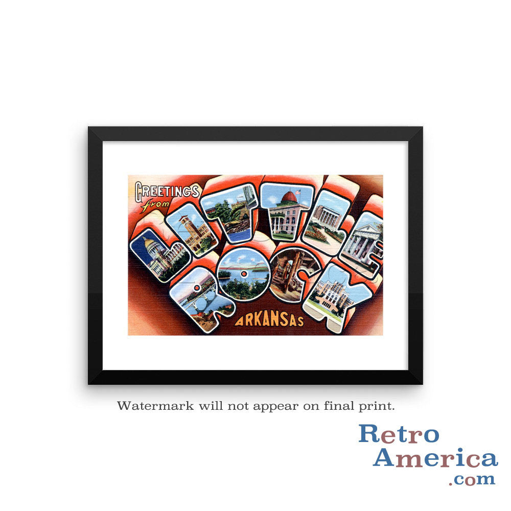 Greetings from Little Rock Arkansas AR 2 Postcard Framed Wall Art