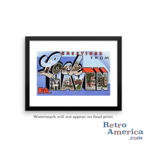 Greetings from Lock Haven Pennsylvania PA Postcard Framed Wall Art