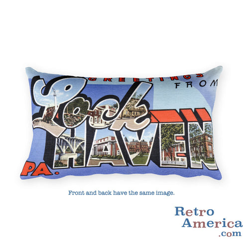 Greetings from Lock Haven Pennsylvania Throw Pillow
