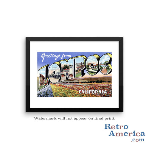 Greetings from Lompoc California CA Postcard Framed Wall Art