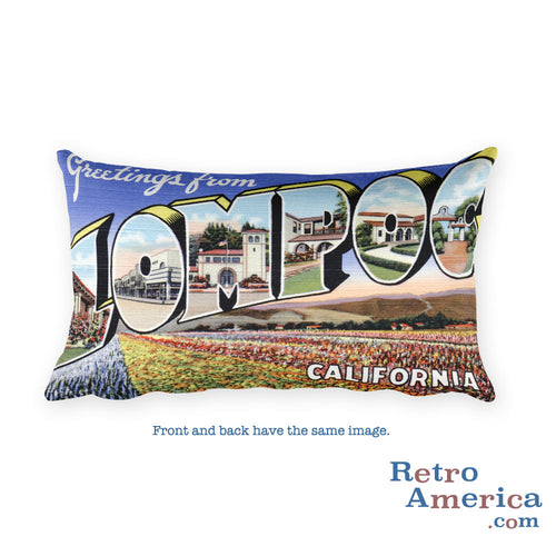 Greetings from Lompoc California Throw Pillow