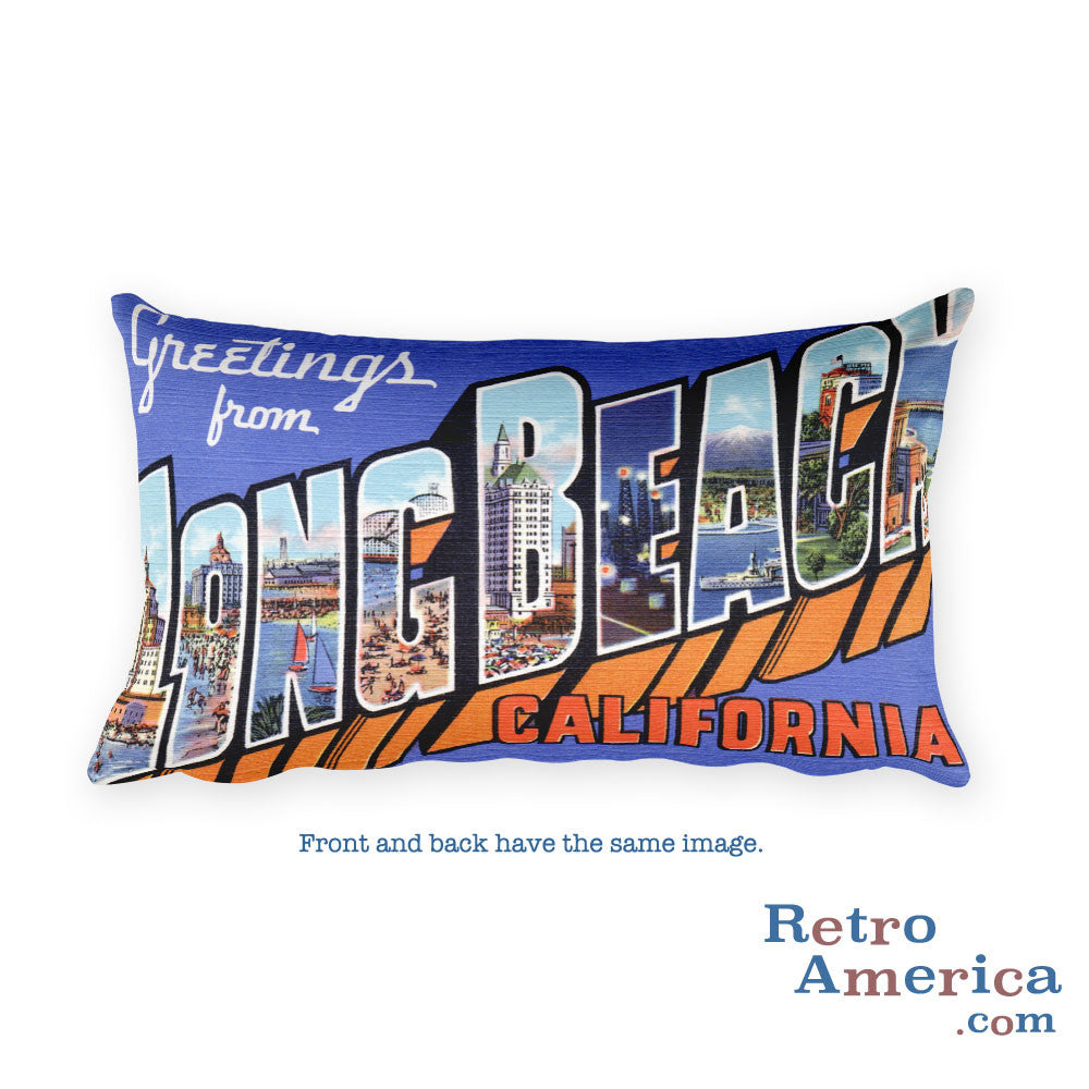 Greetings from Long Beach California Throw Pillow