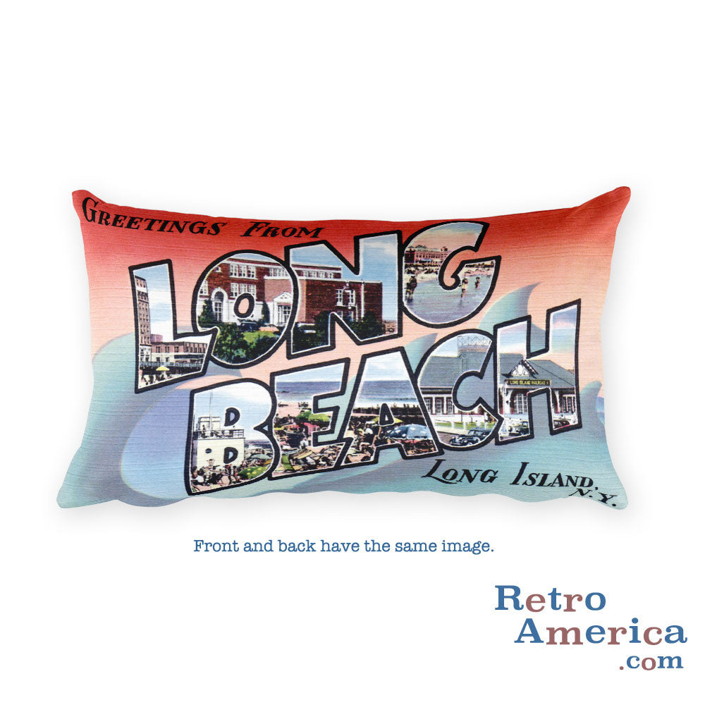 Greetings from Long Beach Long Island New York Throw Pillow 2