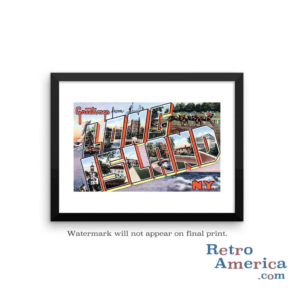 Greetings from Long Island New York NY 1 Postcard Framed Wall Art
