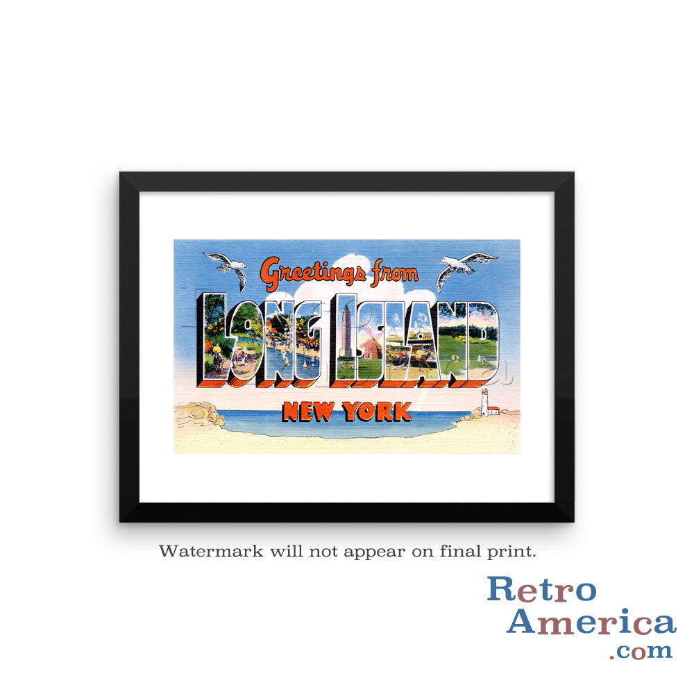 Greetings from Long Island New York NY 2 Postcard Framed Wall Art