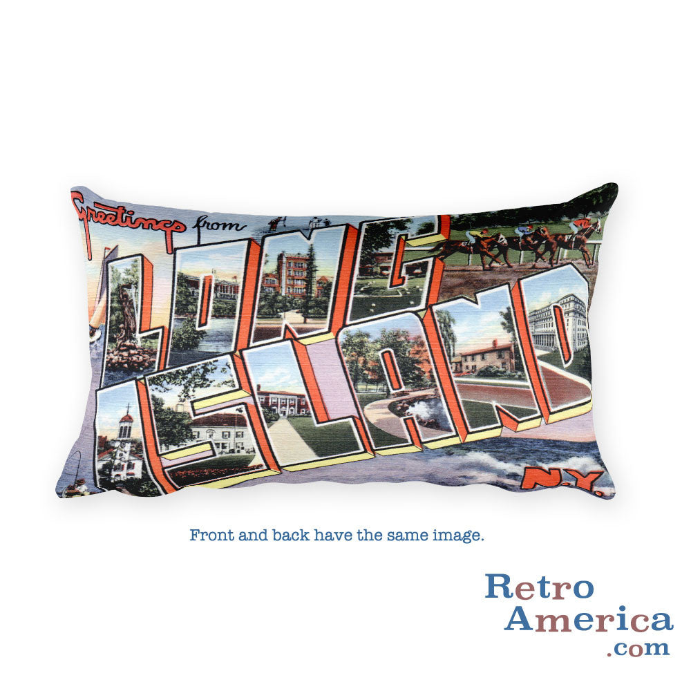 Greetings from Long Island New York Throw Pillow 1