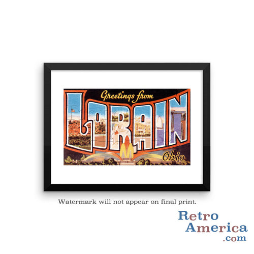 Greetings from Lorain Ohio OH Postcard Framed Wall Art