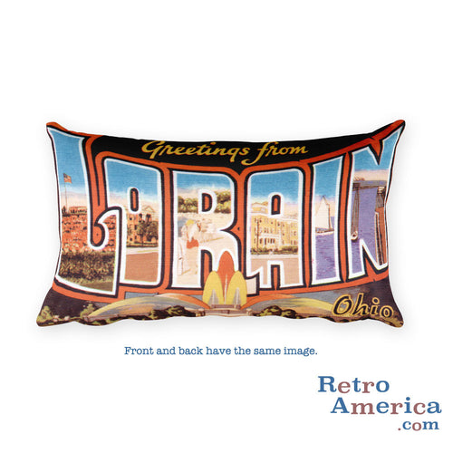 Greetings from Lorain Ohio Throw Pillow