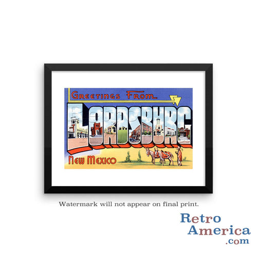 Greetings from Lordsburg Arizona AZ Postcard Framed Wall Art