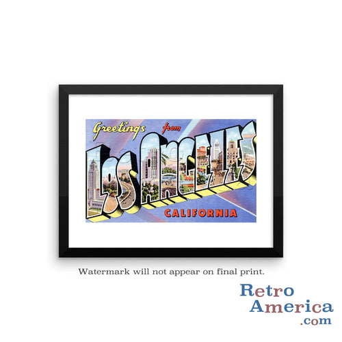 Greetings from Los Angeles California CA 1 Postcard Framed Wall Art