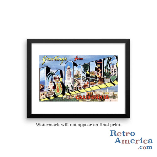 Greetings from Los Angeles California CA 3 Postcard Framed Wall Art