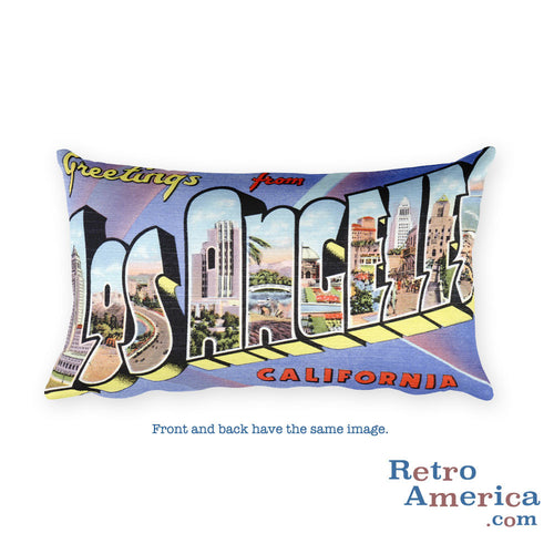 Greetings from Los Angeles California Throw Pillow 1