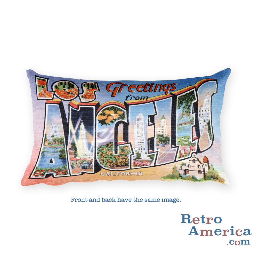 Greetings from Los Angeles California Throw Pillow 2