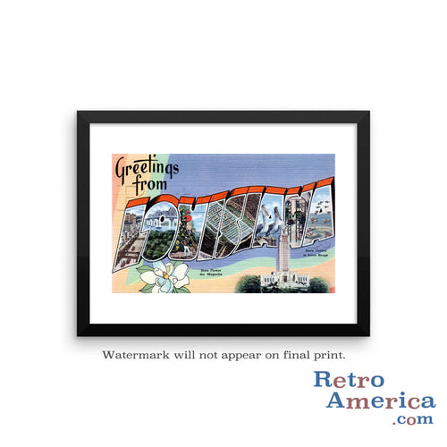 Greetings from Louisiana LA 1 Postcard Framed Wall Art