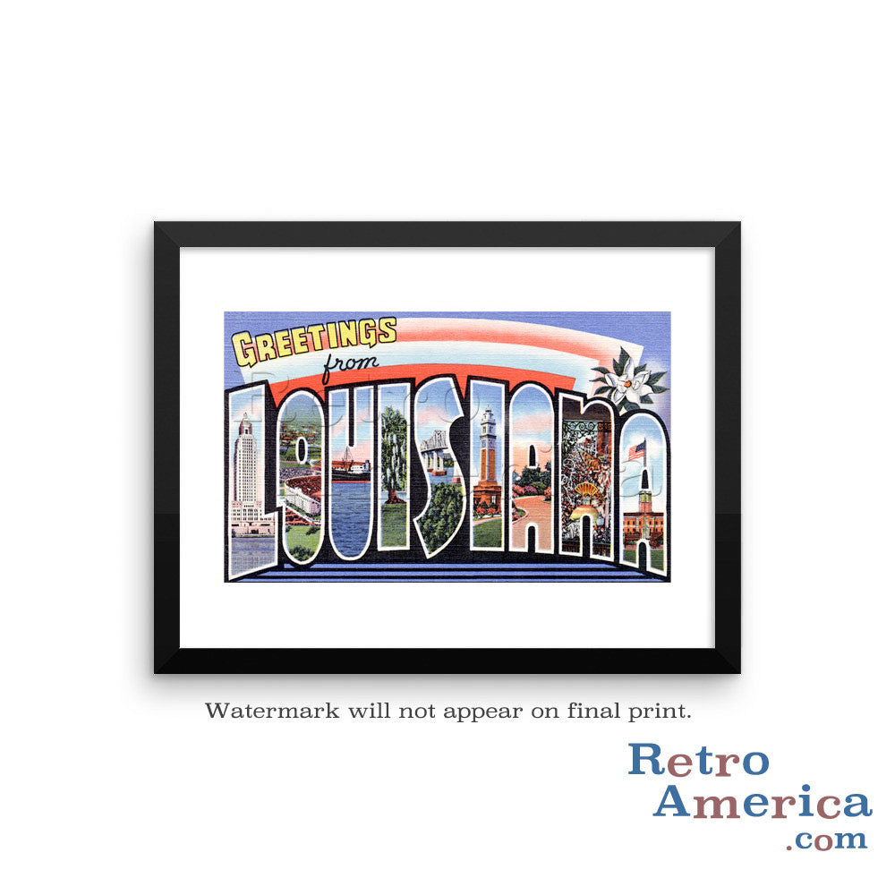 Greetings from Louisiana LA 2 Postcard Framed Wall Art