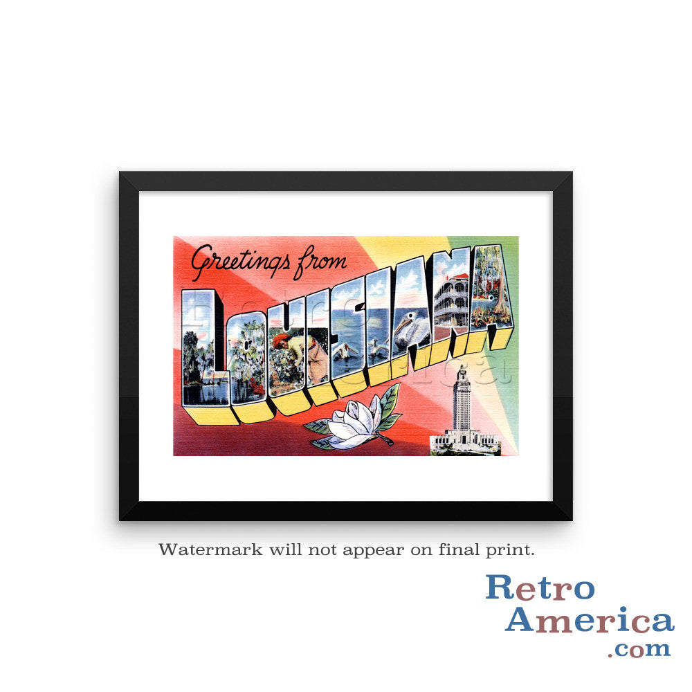 Greetings from Louisiana LA 3 Postcard Framed Wall Art