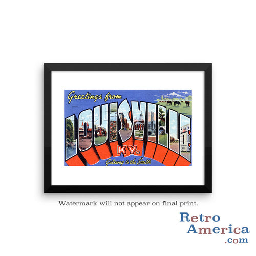 Greetings from Louisville Kentucky KY Postcard Framed Wall Art