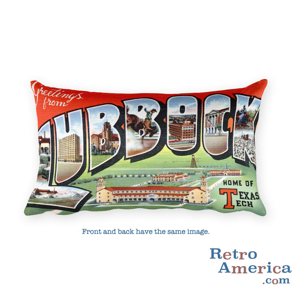 Greetings from Lubbock Texas Throw Pillow