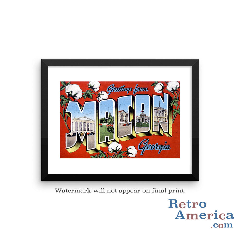 Greetings from Macon Georgia GA Postcard Framed Wall Art