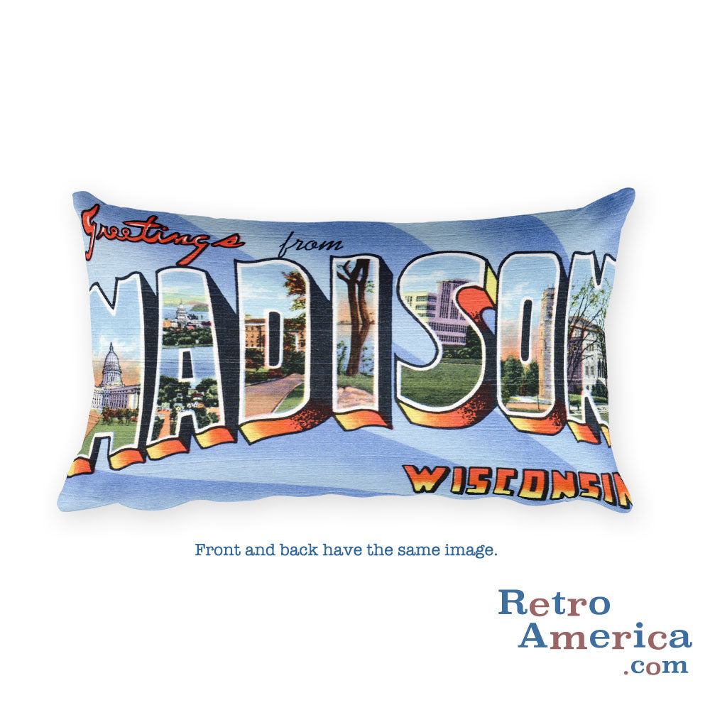 Greetings from Madison Wisconsin Throw Pillow 1