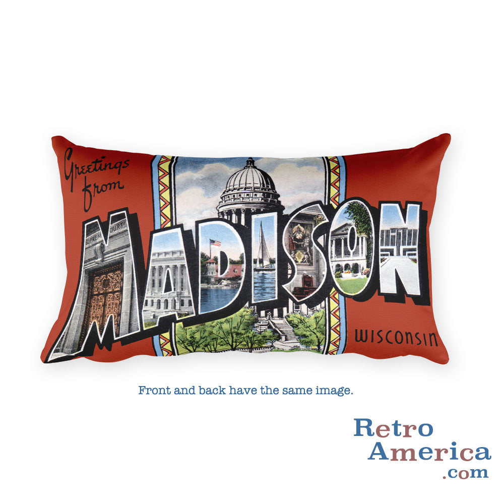Greetings from Madison Wisconsin Throw Pillow 2