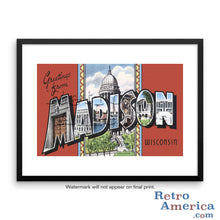 Greetings from Madison Wisconsin WI 2 Postcard Framed Wall Art