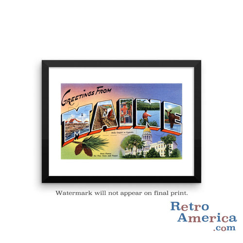 Greetings from Maine ME 1 Postcard Framed Wall Art