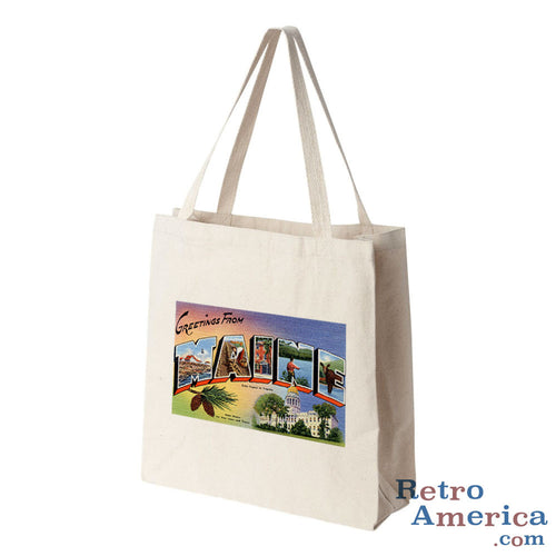 Greetings from Maine ME 1 Postcard Tote Bag